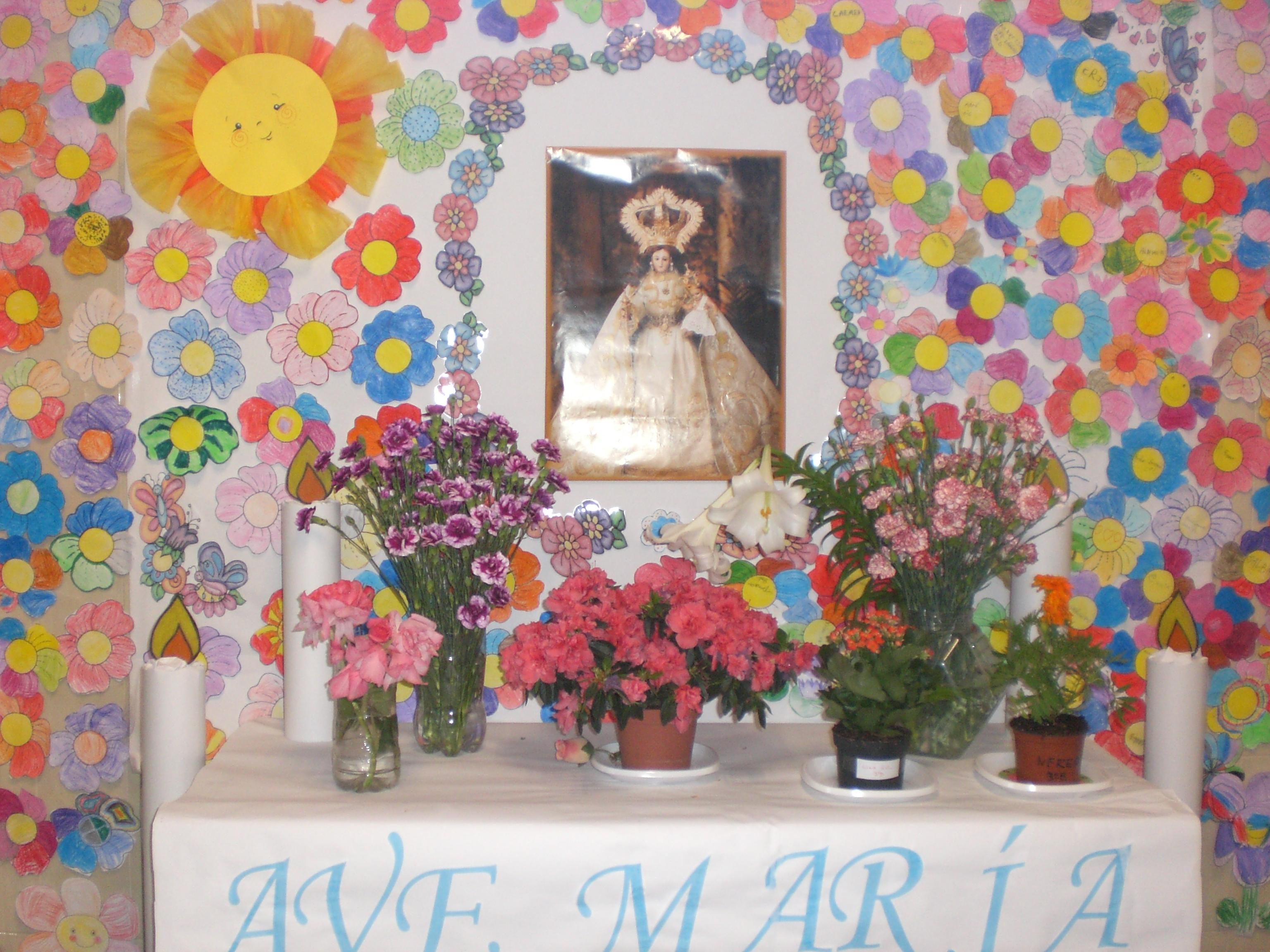 Decoracion Altar Para La Virgen ~ alumnos de niveles superiores han tra?do ramos de flores y macetas